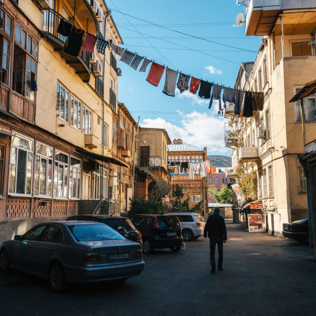 """Old Tbilisi courtyard of an apartment house"" stock image"