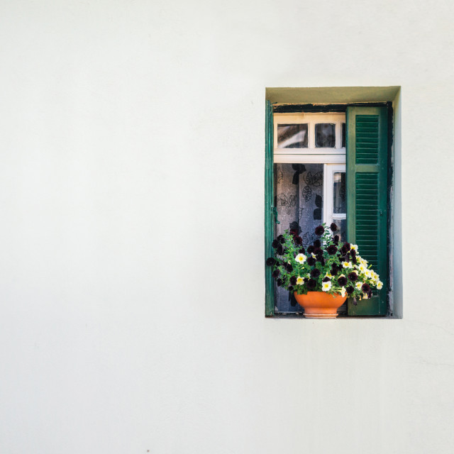 """Side view of a white wooden house with small window with curtains and flowers"" stock image"