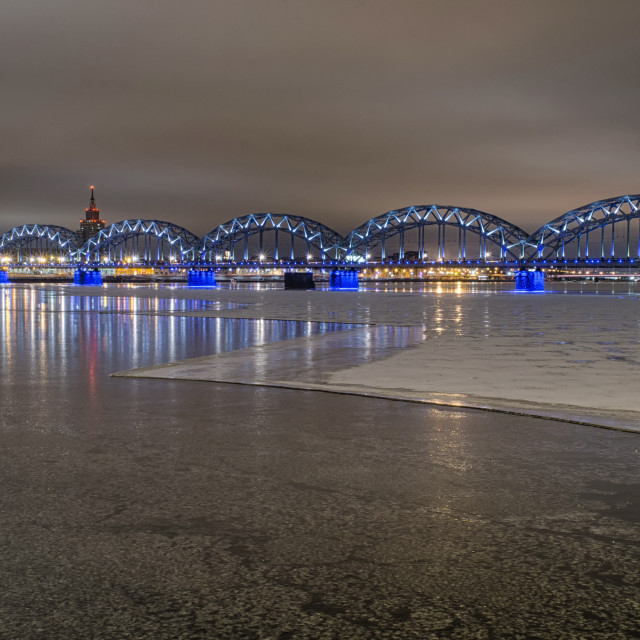 """""""Frozen Riga At Night"""" stock image"""