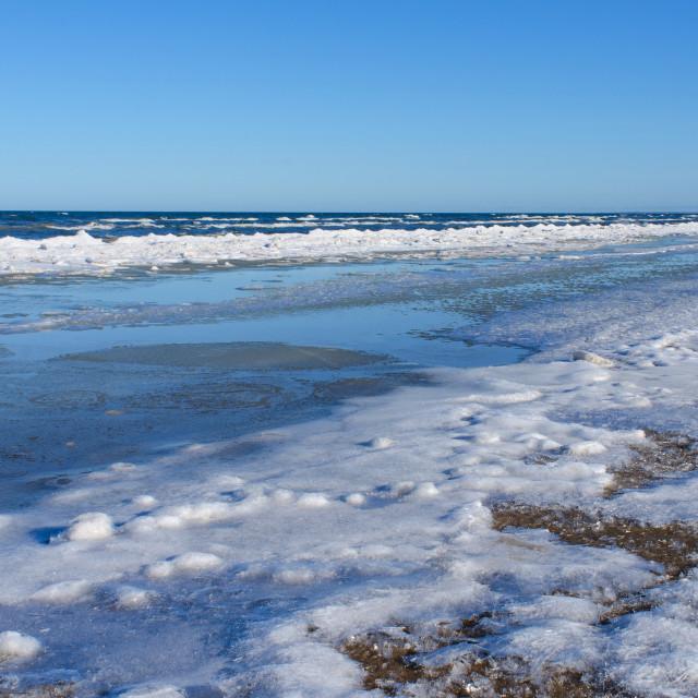"""""""Baltic sea shore in winter"""" stock image"""