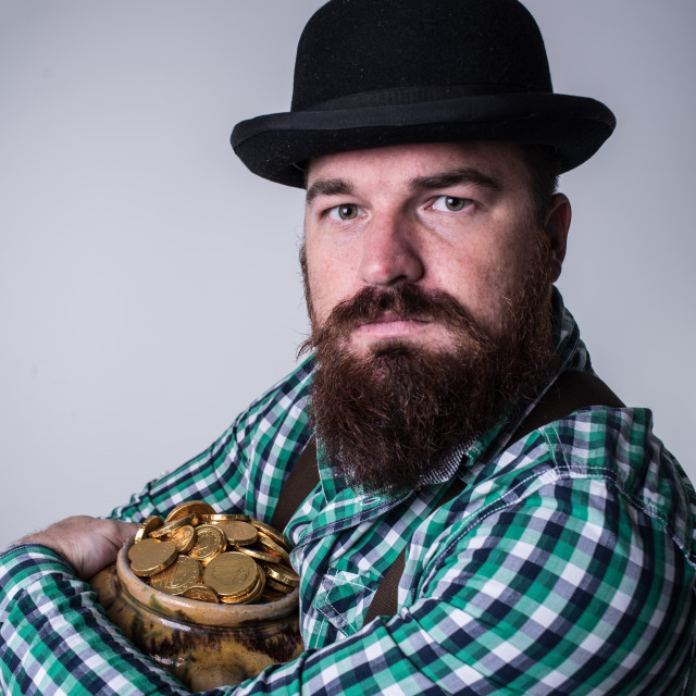 """""""portrait of bearded man with pot of gold"""" stock image"""