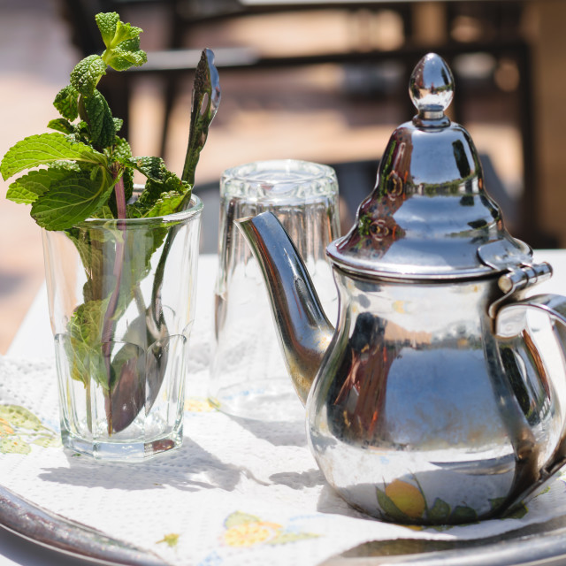 """""""Teapot and glass with mint leaves, Morocco"""" stock image"""