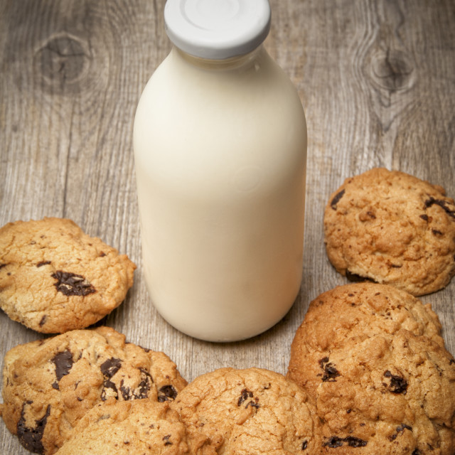 """Milk and cookies. A bottle of milk with homemade chocolate chip cookies"" stock image"