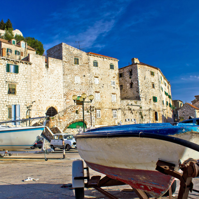"""Old harbor in Sibenik town"" stock image"