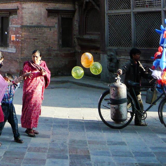 """""""Balloon seller, Kathmandu"""" stock image"""