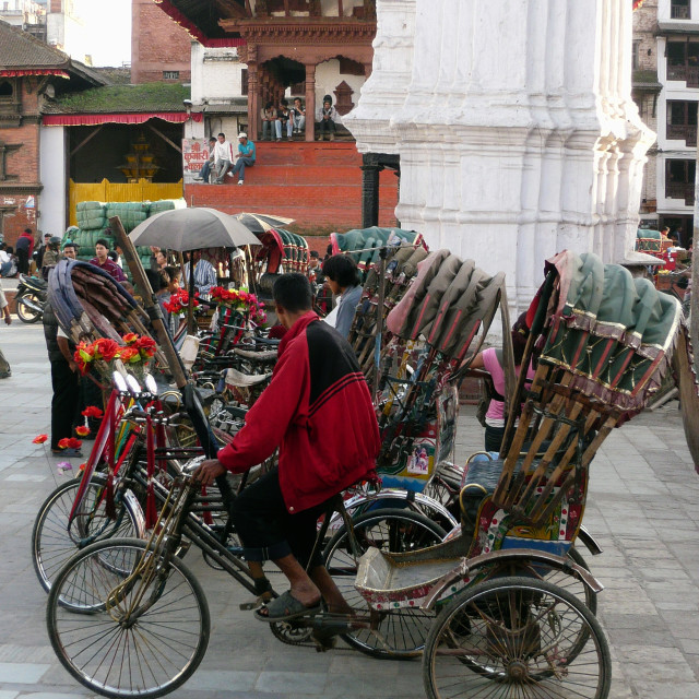 """Waiting bicycle rickshaws, Nepal"" stock image"