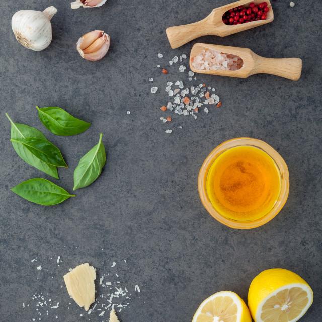"""The ingredients for homemade pesto sauce basil, parmesan cheese ,garlic,..."" stock image"