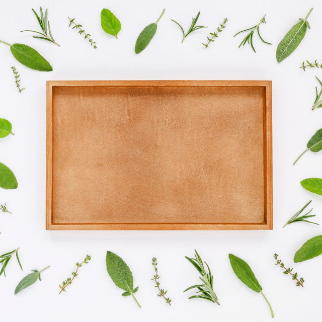 """Various fresh herbs from the garden rosemary, sage ,thyme and peppermint..."" stock image"
