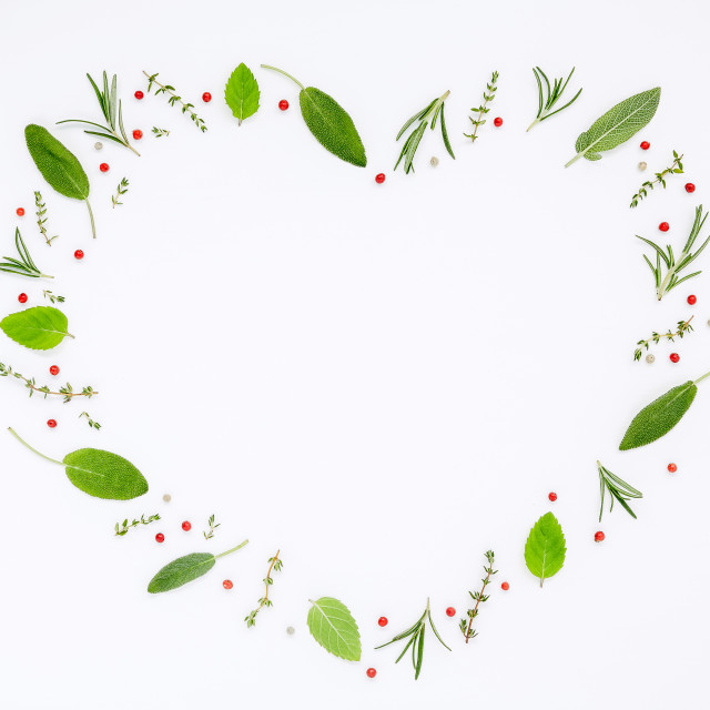 """Heart shaped frame various fresh herbs rosemary, sage ,thyme and peppermint..."" stock image"