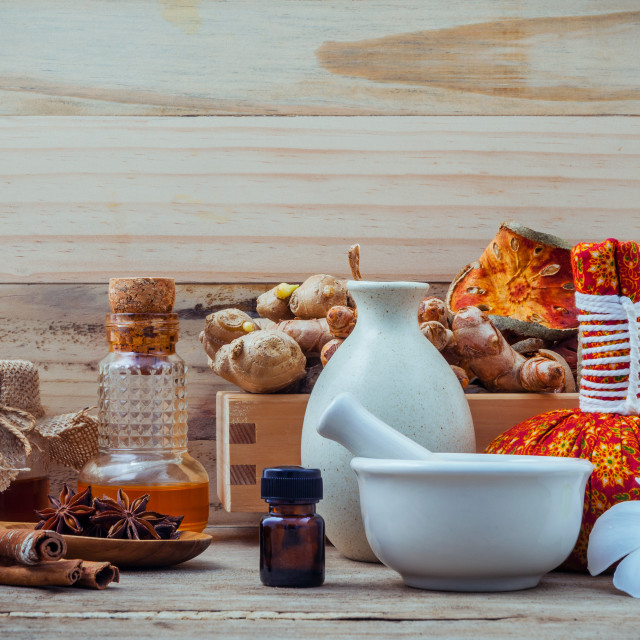 """Natural Spa ingredients and herbal compress ball for alternative medicine and..."" stock image"