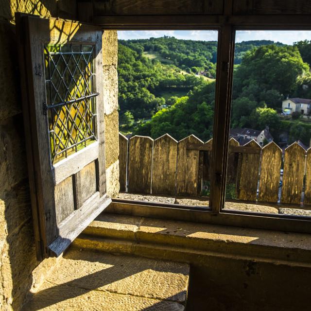 """""""Paranoma from Castelnaud-la-chapelle in Dordogne Perigord Noir F"""" stock image"""