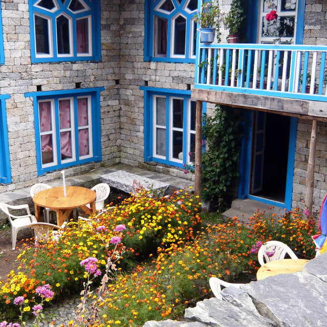 """Colourful courtyard"" stock image"