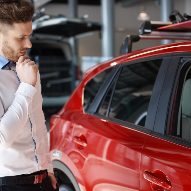"""""""Scene of full of thoughts salesman"""" stock image"""