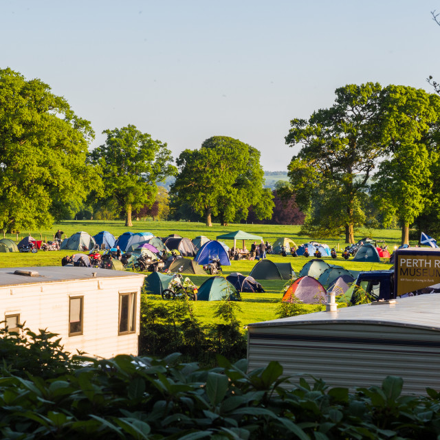"""""""Campers staying on the edge of Perth Racecourse for the Caledonia Harleys..."""" stock image"""
