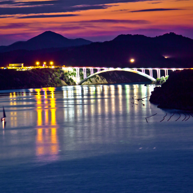 """Sibenik bay bridge dusk view"" stock image"