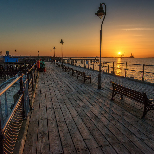 """""""Halfpenny Pier March 2017 Sunset"""" stock image"""
