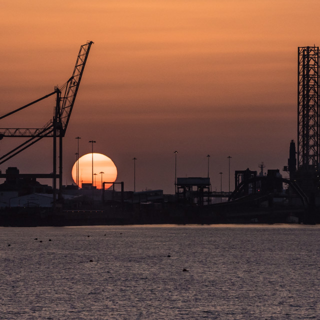 """Industrial Sunset Parkeston Quay"" stock image"