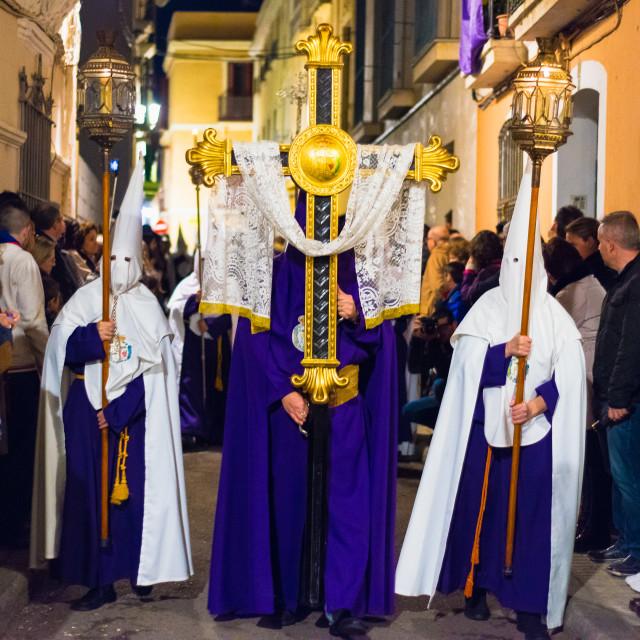 """Badajoz, Spain - March 21, 2016: Easter week (Semana Santa), Nazarene..."" stock image"
