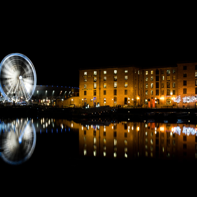"""Wheel of Liverool at Night"" stock image"