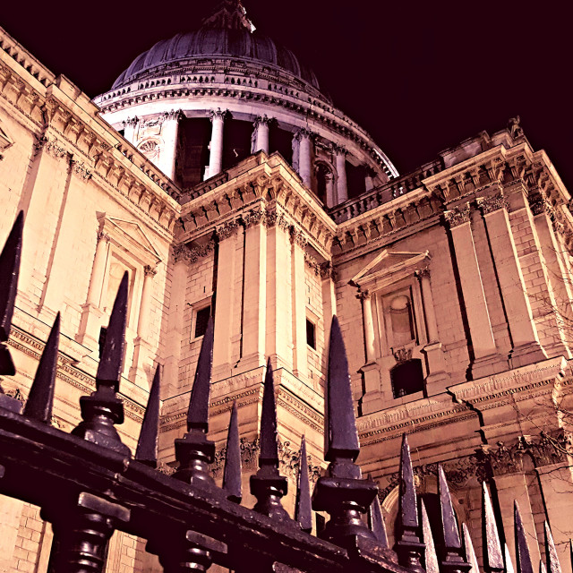 """St Paul's Cathedral at night"" stock image"