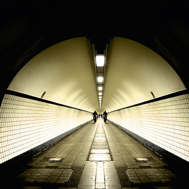 """Pedestrian tunnel (Antwerp)"" stock image"