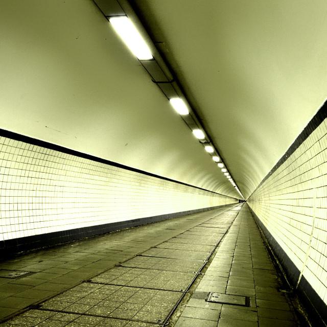 """""""Pedestrian tunnel, Antwerp (Belgium)"""" stock image"""