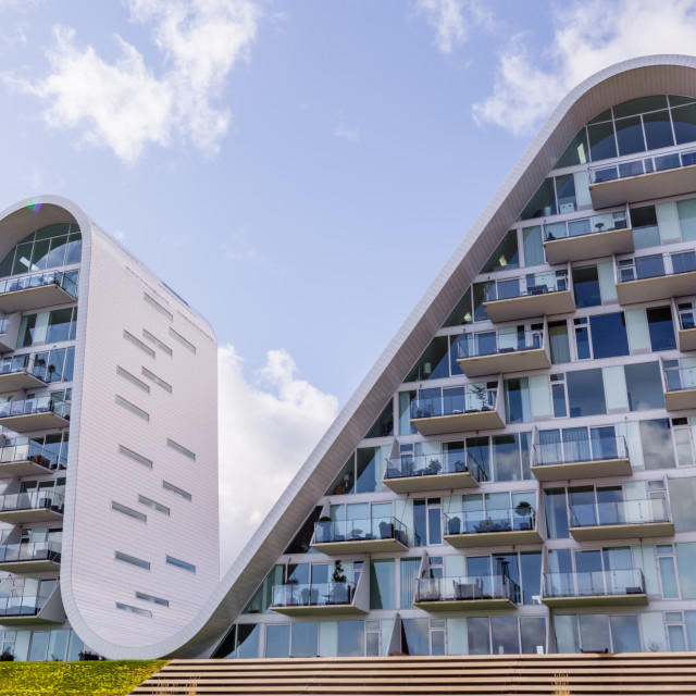 """The wave, futuristic homes in Vejle, Denmark"" stock image"