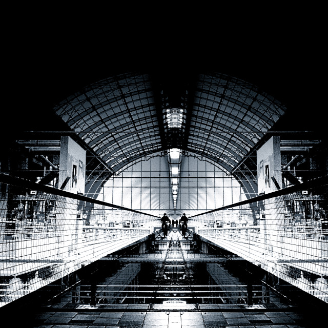 """Double exposure; Antwerp Central Station vs. Pedestrian Tunnel of Antwerp"" stock image"