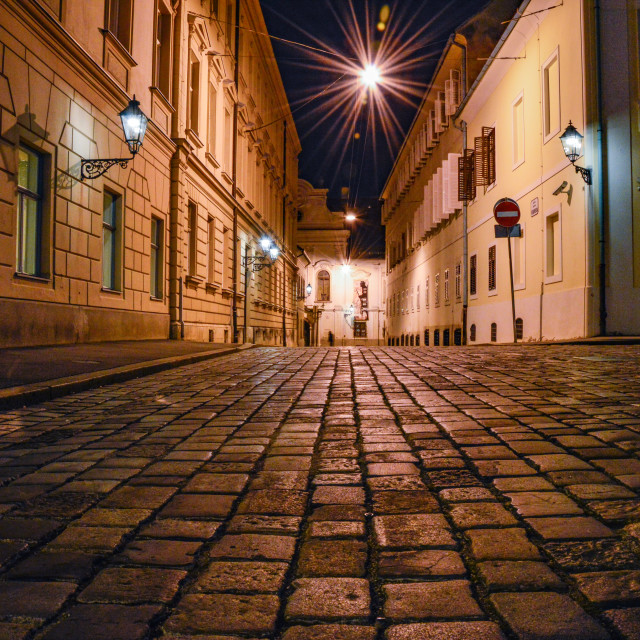 """Cobblestone Drive at Night"" stock image"