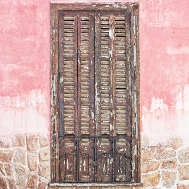 """Brown wood window shutters"" stock image"