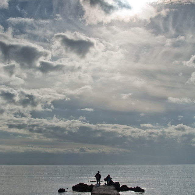 """""""Two men fishing"""" stock image"""