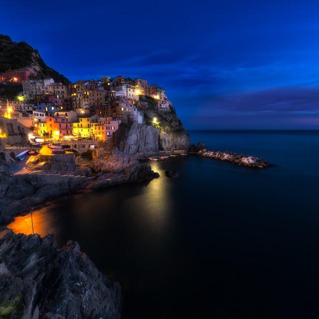 """Blue hour in MAnarola"" stock image"