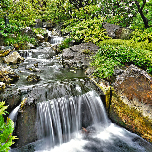 """""""Temple waterfall in Tokyo"""" stock image"""
