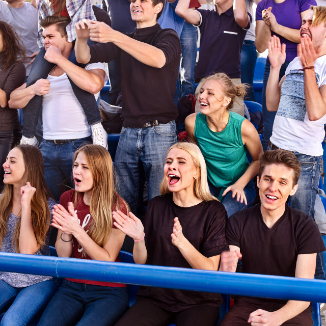 """Fans cheering in stadium. Group people wait your favorite team."" stock image"