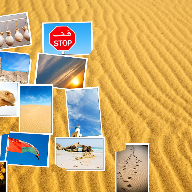 """""""images from all over the oman in a desert patchwork"""" stock image"""