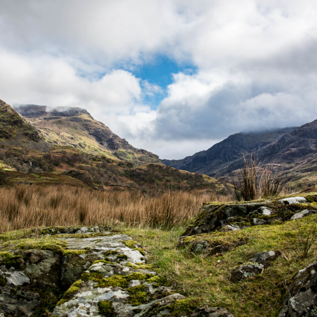 """Early Spring in the Llanberis Pass"" stock image"