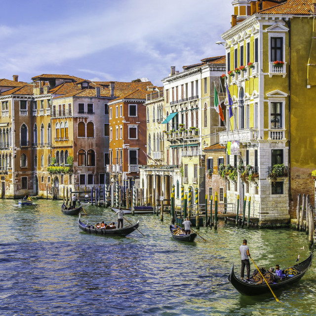 """Gondoliers in grand canal"" stock image"