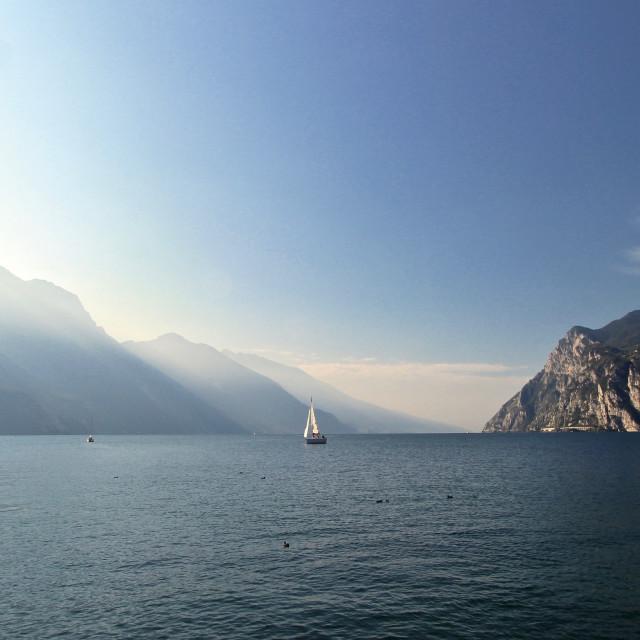"""""""Sail boat on Lake Garda"""" stock image"""