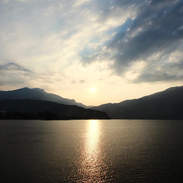 """Sunrise on Lake Garda"" stock image"