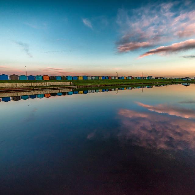 """""""Dovercourt Boating Lake At Sunset"""" stock image"""