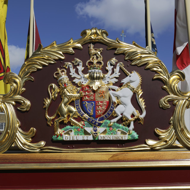 """The Royal Rowbarge Gloriana, moored in St Katherines Dock near Tower Bridge,..."" stock image"