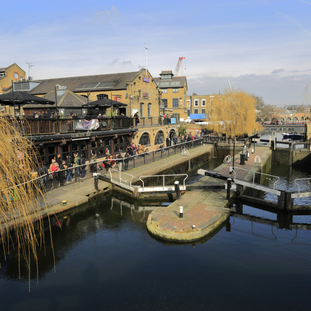 """Camden Lock Market and Regents Canal, North London, England, UK"" stock image"