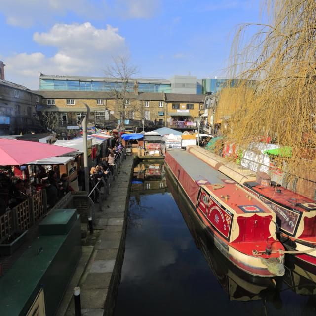 """Camden Lock Market and Regents Canal, North London, England, UK"" stock image"