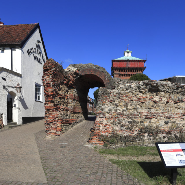 """""""The Balkerne Gate, Roman Walls, Colchester town, Essex, England, UK"""" stock image"""