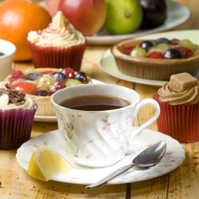 """Tea and cake"" stock image"