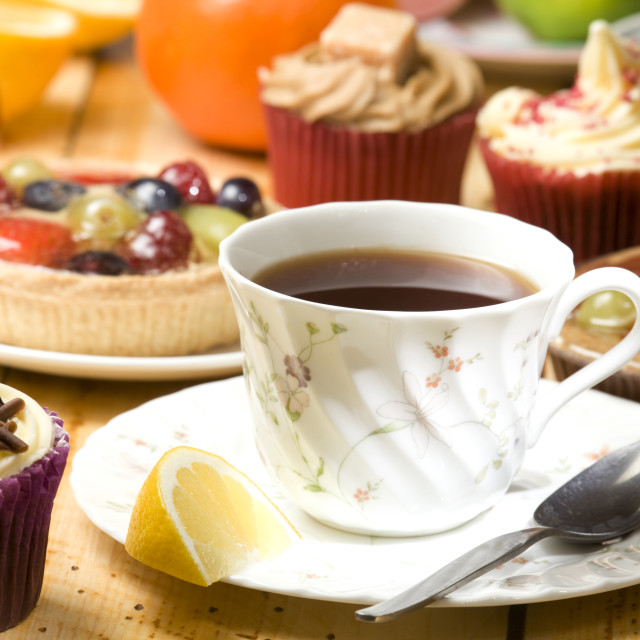 """""""afternoon tea and cake"""" stock image"""
