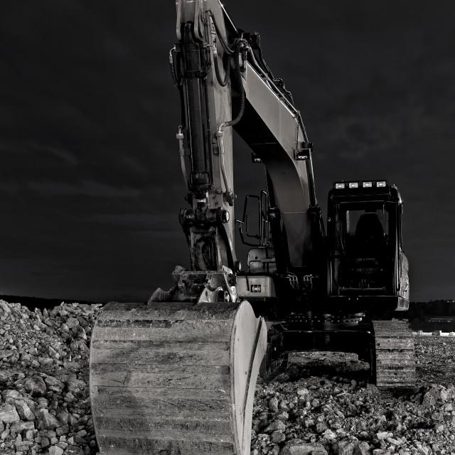"""Excavator at night"" stock image"