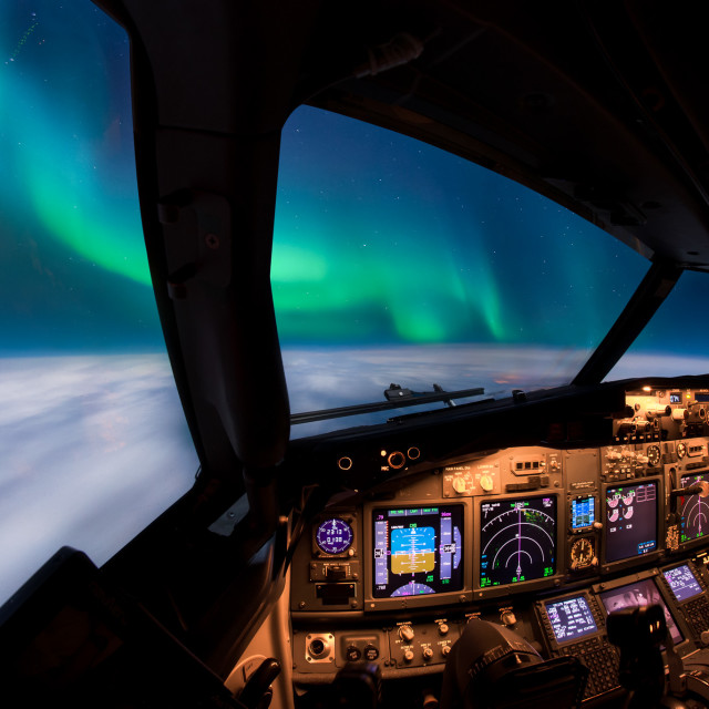 """Flying under the Aurora Borealis"" stock image"