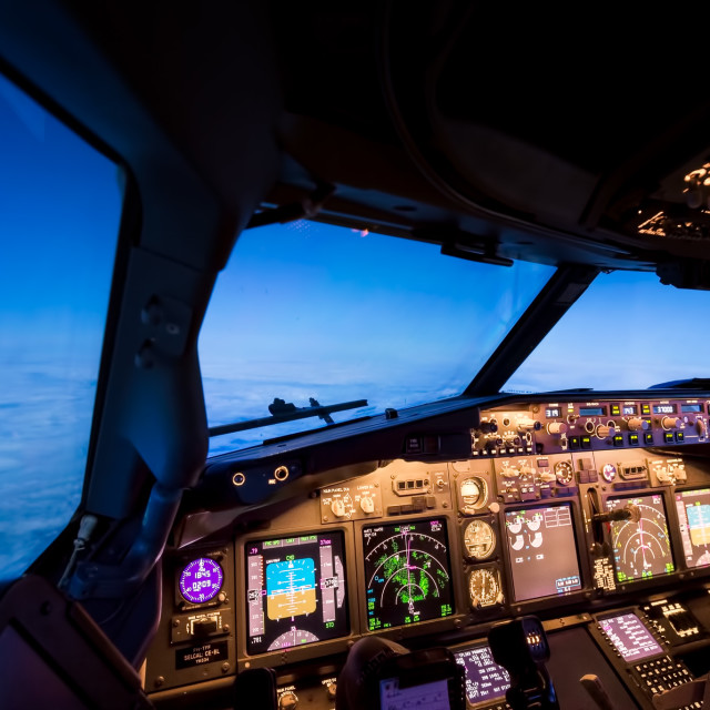 """Cockpit at blue hour"" stock image"