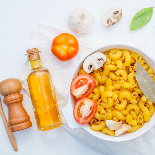 """Italian foods concept and menu design . Pasta elbow macaroni with..."" stock image"